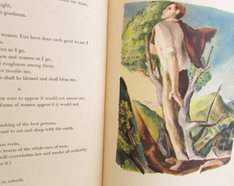 1940 Book Leaves of Grass by Walt Whitman Introduction by Christopher Morley Illustrations by Lewis C Daniel