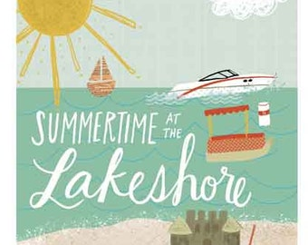 Summertime At The Lakeshore Art Print on Wood