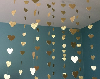Gold glitter hearts // heart streamers // glitter paper // star streamers //gold streamers // hearts // glitter streamers // gold decoration