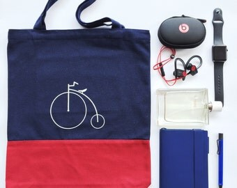 "Bakeriest "" Navy & Red Canvas Tote Bag Shopper Shoulder Purse with Pocket"