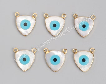 Wholesale New Design Gold Plated Triangle Natural White Shell Evil Eye Connector Turquoise Greek Eye Charm Gemstone Making Jewelry G0924