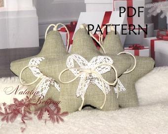 PDF Pattern.  Christmas Ornament Sewing Pattern. Star Pattern. Two sizes Pattern. Instant Download. Digital PDF Files.