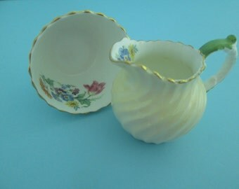 Aynsley English Bone China Creamer and Open Sugar Bowl from the 1930s