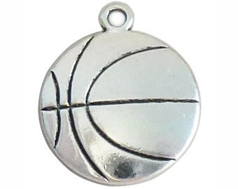 5 pcs - Silver Basketball Charm Double Sided 22x19mm - Ships from Texas by TIJC - SP1077