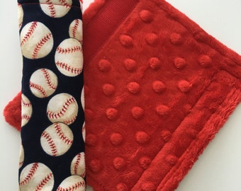 Car Seat Strap Covers ~ Cotton and Minky Strap Covers ~ Baby Boy ~ Baseball ~ Navy ~ Red