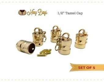 Tassel Cap, Handbag Accessory,  Hanging Tassel Cap for Bags, Purses, Totes / Bag Hardware in Light Gold Finish (Set of 5)
