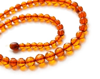Faceted Baltic amber necklace fo Adults Round shaped Balls Beads Cognac color Polished Natural Amber 8,5 mm to 5,5 mm size. 2955