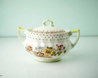 Vintage Royal Doulton Grantham D5477 Made in England Lidded Sugar Bowl