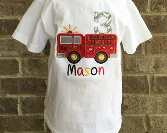 Firetruck birthday appliqued shirt