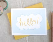 Hello! Cloud Note Card // Anytime Blank Note Card // Modern Stationery // Hand Lettered Card // Illustrated Card // Just Because Card