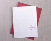 Love Love Love Valentine's Day Card // Hand Lettered // Modern Greeting Card // Romantic Love Valentine
