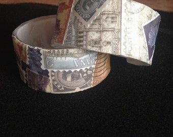 Antique stamp collage bracelet