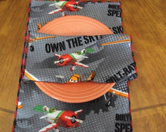 "Cloth napkins , children's napkins, planes design, eco friendly napkins plan a ""planes"" party"