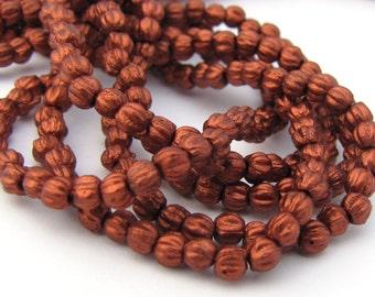 NEW Matte Metallic Antique Copper 3mm Melon Fluted Round Czech Glass  Beads 100pc #3018