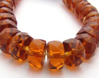 Deep Topaz 8mm Facet Disc Rondelle Czech Glass Fire Polished Beads #3045