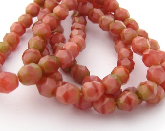 NEW Pink - Olive Coral 6mm Facet Round Czech Glass Fire Polished Beads #1767