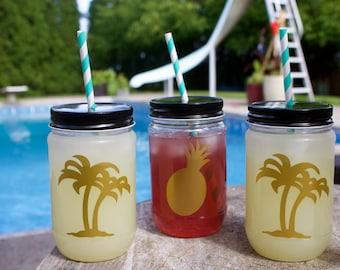 Tropical palm pineapple Gold metallic plastic pool safe mason jars cups decor decorations w black lids bridal baby bachelorette party shower