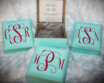 Will You Be My Bridesmaid Box,Bridesmaid Gift, Monogram Bridesmaid Gift, Maid of Honor Box, Rustic Wedding Gift,