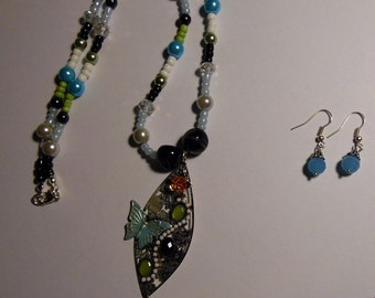 Multi Colored Butterfly Charm Necklace & Earrings Set