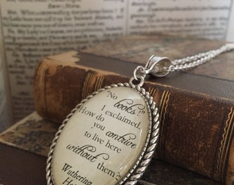 Wuthering Heights Bronte literary book pendant - No Books