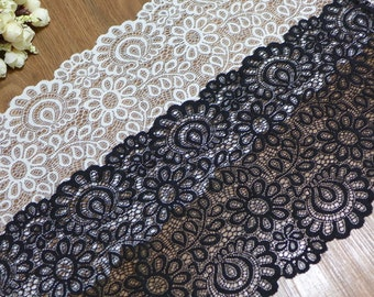 Stretch Lace Elastic Fabric Trim, Black Lace, Off white Stretch, Lace for Headbands