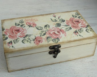 Wooden box. Jewelry box. Wooden storage. Rose. Decoupage. Shabby chic style. Treasury box. Jewellery box.