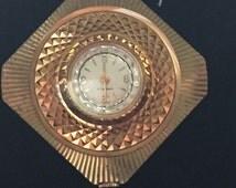Vintage Caravelle Watch Pendant Circa 1960 Gold Tone Unique Retro Watch
