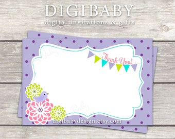 Thank You Card, purple polkadot floral, also match my invitations, see links in description