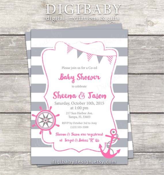 nautical anchor girl baby shower invitation stripes pink grey