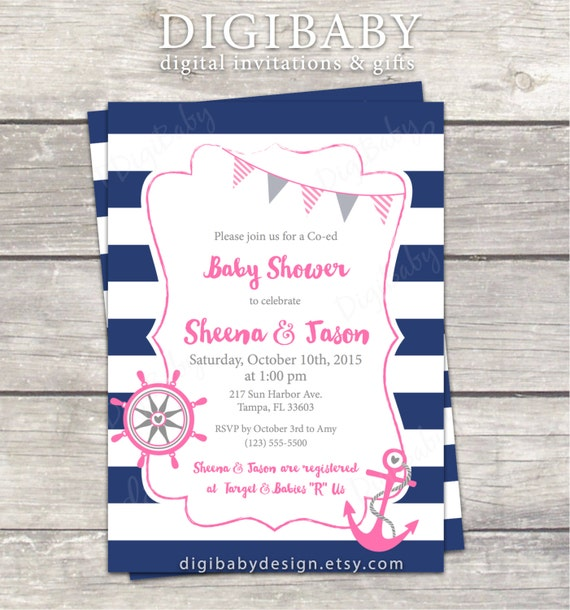nautical anchor baby girl baby shower invitation stripes navy pink