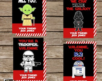 Personalized Printable Star Wars Valentine's Cards