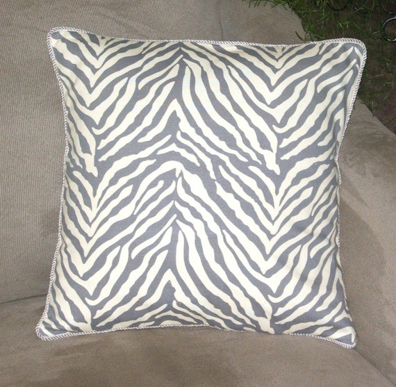 Zebra Print Pillow Cover Gray And By Pearblossomcreations