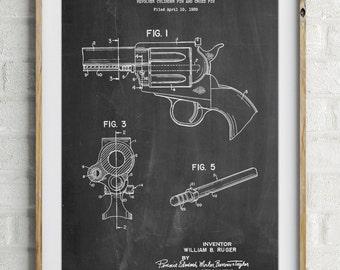 Ruger Revolver Patent Art, Pistol Prints, Gun Art, Gun Enthusiast, PP1023