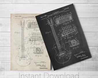 Gibson Les Paul Guitar Printables, Guitar Art, Guitar Player Gift, Electric Guitar, PP0047