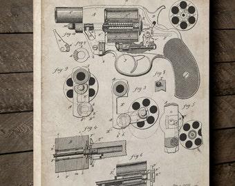Colt M1889 Revolver Patent Canvas Art, Gun Enthusiast, Pistol, Gun Gifts, Canvas Wall Decor, PP0005