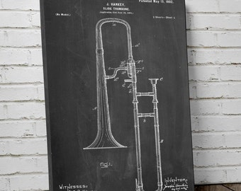 Slide Trombone Patent Canvas Art, Music Canvas, Jazz Art, Marching Band Gifts, Canvas Wall Decor, PP0261