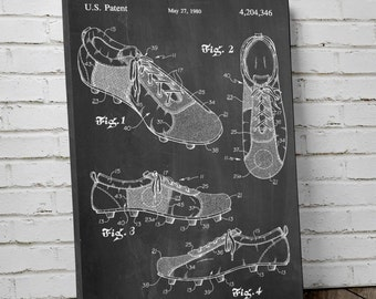 Soccer Cleats Patent Canvas Art, Soccer Canvas, Soccer Room Decor, Soccer Coach Gift, Canvas Wall Decor, PP0055