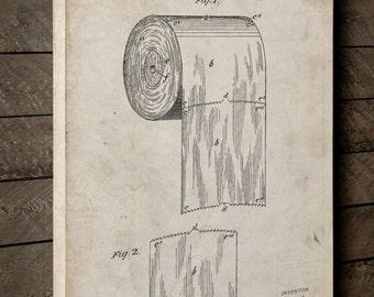 Toilet Paper Patent Canvas Art, Bathroom Canvas Art, Toilet Paper Roll Art, Restroom, Bathroom Wall Art, Canvas Wall Decor, PP0053