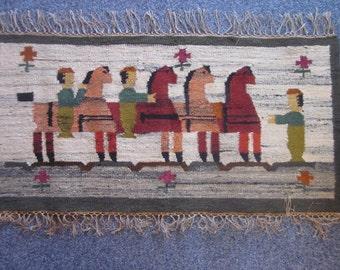 "Wall hanging / tapestry Kilim Pilsko Polish design by J. Boruch ""Zabawka"" hand woven in wool 1950s."