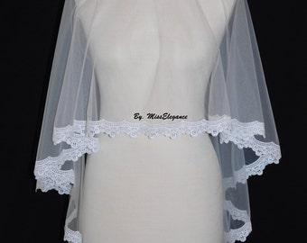 Bridal Veil Wedding Lace Edge VeilDrop Kate Middleton Style