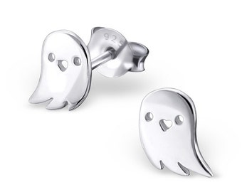 925 Sterling Silver Halloween Ghost Stud Earrings - ES5817