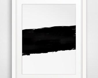 Modern Prints, Printable Artwork, Brush Artwork, Brushstroke Art, Brush Stroke Paint, Contemporary Art, Black and White Abstract Art