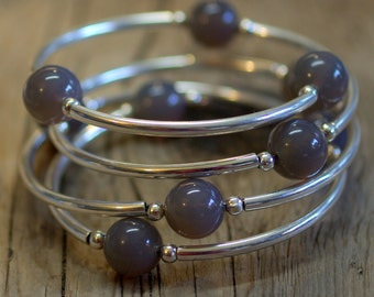 Infinity Bangle Wrap Bracelet, Memory Wire Continuous Coil Bracelet - Grey Milky Agate