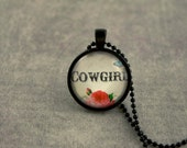 Cowgirl Necklace, 1 Inch Circle Glass Dome Necklace, Black Necklace, Pendant