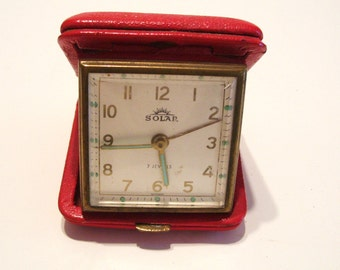Vintage Travel Alarm Clock Solar Brand Germany 7 Jewels Works Well