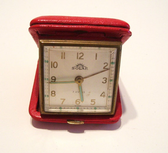 Vintage Travel Alarm Clock Solar Brand Germany 7 Jewels Works