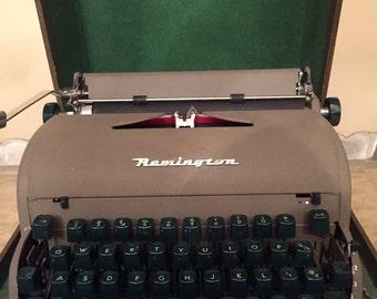 Vintage Remington Manual Typewriter Portable with Case Green Keys Tan Body 1950,s