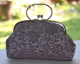 Grey Clutch/ Floral / Vintage kimono bag/ silver purse frame/hand made