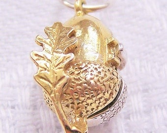 Acorn charm Sterling silver & Vermeil Gold Opening on Squirrel Oak Leaf