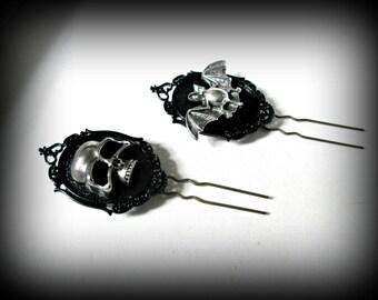 Steampunk hair pin-skull hair clip-hair fork-gothic hair fork-bat hair pin-set of 3